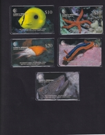 DIEGO GARCIA , DGA-R-73-77 , 2nd MARINE LIFE  SET ,  5 Cards , MINT / UNUSED , CONTROL NUMBERS 00100 - Diego-Garcia