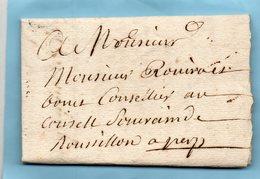 L.A.C. D'un Religieux De PERPIGNAN (65) Pour ROVIRA Au Conseil Souverain Du Roussillon.1758. - Poststempel (Briefe)