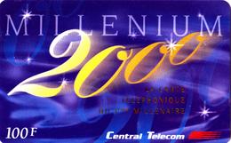 Carte Prépayée Millenium 2000 Or 100F Central Telecom - Rare - Frankrijk