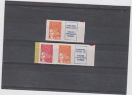 FRANCE MARIANNE DE LUQUET 2 T + Vignettes Xx N° YT 3101a 3101b Provenant Du Carnet 1508 - 1997-04 Marianne Of July 14th