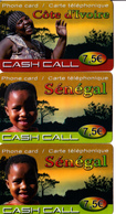 3 Cartes Prépayées Cash Call Côte D'Ivoire Sénégal 7,5€ Différentes - Frankrijk