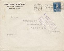 Argentina ENRIQUE MARANZ Bolsa De Comercio BUENOS AIRES 1924 Cover Letra HAMBURG Germany San Martin Stamp - Argentina