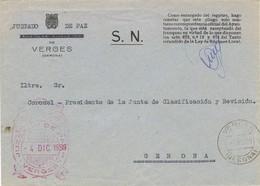 34871. Carta S.N. Franquicia Juzgado De Paz VERGES (Gerona) 1959. Fechador Verges - 1931-Hoy: 2ª República - ... Juan Carlos I