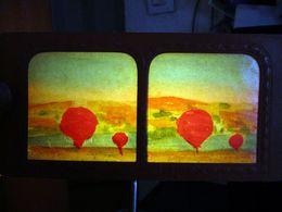 PHOTOGRAPHIE STEREOSCOPIQUE TRANSPARENTE CONTRE LA LUMIERE 1860 PARIS ESPLANADE INVALIDES MONTGOLFIERE ? STEREOSCOPIC - Stereoscoop