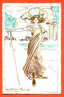 """CPA Art Nouveau Illustrateur Max Hassur Belline """"  Femme élégante En Robe Et Chapeau """" - Illustrators & Photographers"""