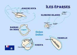 Scattered Islands Map Iles Eparses New Postcard Landkarte AK - TAAF : Franz. Süd- Und Antarktisgebiete