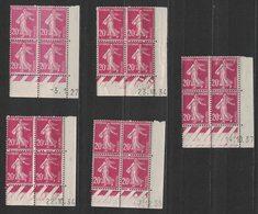France - Yvert 190 - 5 Coins Datés Avec Dates Différentes - Scott#167 Plate Blocks - Dated Corners
