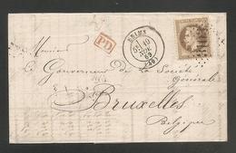 BELLE LETTRE - 30c Brun Lauré Sur Lettre Pour La Belgique- Oblit. REIMS 1869 + PD Rouge Dans 1 Rectangle - Verso:cachets - Marcofilia (sobres)
