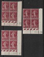 France - Yvert 189 - 3 Coins Datés Avec Dates Différentes - Scott#165 Plate Blocks - Dated Corners