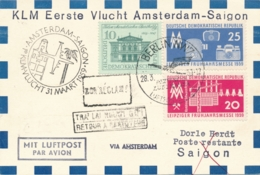 Nederland - 1959 - DDR-post Op 1st Flight KLM Van (Berlin Via) Amsterdam Naar Saigon / Vietnam - Luftpost