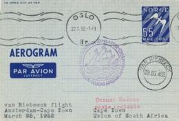 Nederland - 1952 - Norge Post Op Van Riebeeck Vlucht Van (Oslo Via) Amsterdam Naar Cape Town / RSA - Poste Aérienne