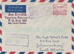 Nederland - 1946 - Ceskoslovensko Post Op KLM Proefvlucht Van (Praha Via) Amsterdam Naar  Johannesburg / SA - Poste Aérienne