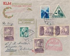 Nederland / Curacao - 1934 - Snip Kerstvlucht Van Dieren Naar Curacao En Retour - Luchtpost