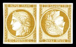 N°1d, 10c Bistre, Paire Têtebêche, Fraîcheur Postale, 7 Pièce Connues, Magnifique,. R.R.R. (signé Calves/Scheller/certif - 1849-1850 Cérès