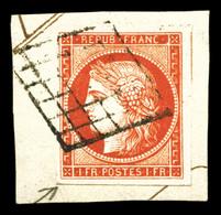 N°7a, 1F Vermillon Vif, Belles Marges Dont Voisin, Obl Grille Légère Sur Son Support, Nuance Exceptionnelle, SUPERBE. R. - 1849-1850 Cérès
