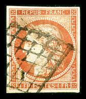 N°7, 1F Vermillon Oblitéré Grille, Restauré, Belle Présentation (signé Brun/certificat)  Qualité: O  Cote: 21000 Euros - 1849-1850 Cérès