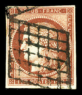 N°6B, 1f Carminbrun Obl Grille. TB (signé Brun/certificat)  Qualité: O  Cote: 1100 Euros - 1849-1850 Cérès