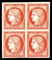 N°7A, 1 Fr Vermillon Pâle Dit 'vervelle' En Bloc De Quatre Sans Aminci (rare) Et Comme Toujours Sans Gomme. Quatre Belle - 1849-1850 Cérès
