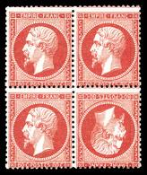 N°24b, 80c Rose: TÊTEBÊCHE Tenant à Normaux Dans Un Bloc De Quatre, Très Grande Rareté De La Philatélie Francaise. MAGNI - 1862 Napoléon III