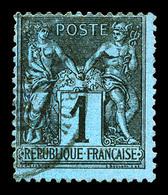 N°84, 1c Noir Sur Bleu De Prusse, Infime Pelurage Sinon Très Beau (signé Calves/certificat)   Qualité: O  Cote: 6000 Eur - 1876-1898 Sage (Type II)