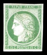 Cérès, 15c Vert Sur Papier Carton. TB  Qualité: (*)  Cote: 400 Euros - France