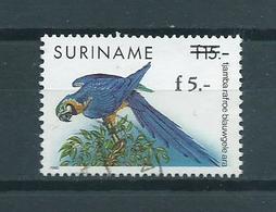 1993 Suriname Birds,oiseaux,vogels,vögel Blauwgele Ara Overprint Used/gebruikt/oblitere - Surinam
