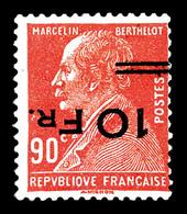 N°3a, Ile De France, Berthelot 10F Sur 90c Rouge, Surcharge Renversée, SUPERBE. R.R.R (signé Brun/certificat)   Qualité: - 1927-1959 Nuevos