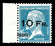 N°4, Pasteur Surchargé à Bord Du Paquebot 'ILE DE FRANCE' 10F Sur 1,50F Bleu, Bord De Feuille, Bon Centrage Et Exception - 1927-1959 Nuevos