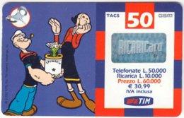 ITALY G-745 Prepaid TIM - Comics, Popey The Sailor - Used - Italia