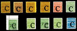 N°108/18, Série Complète Surchargée 'C', Les 11 Valeurs TTB (certificat)  Qualité: *  Cote: 653 Euros - Neufs