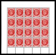 N°4, FAUX DE LONDRES, 30c Pétain Rouge (506), Bloc Complet De 20 Exemplaires. SUP. R. (certificat)  Qualité: **  Cote: 6 - Liberazione