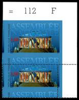 N°2937a, 2.80f Assemblée Nationale: Dentelé Tenant à Non Dentelé, En Paire Cdf Piquage à Cheval. SUP. R. (signé Calves/c - Varieteiten: 1990-99 Postfris