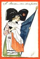 """CPA Aquarellée Illustrée Par Denyse """" Femme Alsacienne Et Drapeau Français """" - Patriotic"""