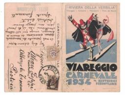 CARTOLINA PUBBLICITARIA Il Carnevale Di Viareggio 1934 (Ill. Bonetti) Col Calendario Del Carnevale - Au Bon Marché