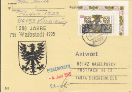 83895-WAIBSTADT COAT OF ARMS SPECIAL POSTCARD, REGENSBURG TOWN ANNIVERSARY STAMP, 1995, GERMANY - Storia Postale