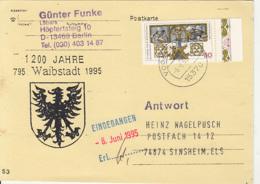 83896-WAIBSTADT COAT OF ARMS SPECIAL POSTCARD, REGENSBURG TOWN ANNIVERSARY STAMP, 1995, GERMANY - Storia Postale