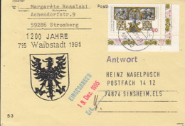 83897-WAIBSTADT COAT OF ARMS SPECIAL POSTCARD, REGENSBURG TOWN ANNIVERSARY STAMP, 1995, GERMANY - Storia Postale