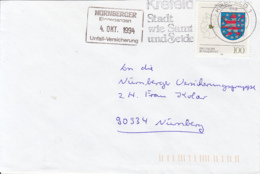 83907- THURINGIA COAT OF ARMS STAMP ON COVER, KREFELD TOWN SPECIAL POSTMARK, 1994, GERMANY - Storia Postale