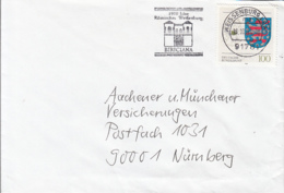83908- THURINGIA COAT OF ARMS STAMP ON COVER, WEISSENBURG TOWN SPECIAL POSTMARK, 1994, GERMANY - Storia Postale
