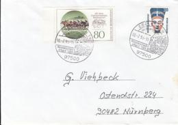 83912- HOPPEGARTEN RACECOURSE, NEFERTITI STAMPS ON COVER, EBELSBACH SPECIAL POSTMARK, 1993, GERMANY - Storia Postale