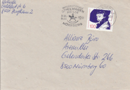 83921- KATHE DORCHS STAMP ON COVER, NURNBERG TOYS FAIR SPECIAL POSTMARK, 1991, GERMANY - Storia Postale