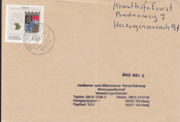 83929- BAVARIA COAT OF ARMS STAMP ON COVER, 1993, GERMANY - Storia Postale