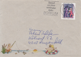 83992- VACATIONS, FISHING SPECIAL COVER, THEATRE STAMP, BORKUM POSTMARK, 1992, GERMANY - Storia Postale