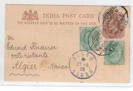 Indien 1908 , Ganzsache Von Aden Nach Afrika - India (...-1947)