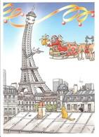 FRANCE ARCHITECTURE PARIS TOUR EIFFEL TURM CHAT CAT KATZE TOIT DACH PERE NOEL WEIHNACHTSMAN CHRISTMAS VEYRI - Tour Eiffel