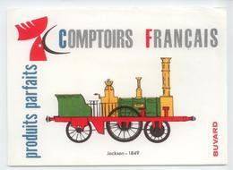 BUVARD COMPTOIRS FRANCAIS TRAIN LOCOMOTIVE VAPEUR BE - Transporte