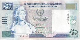 CYPRUS P63b 20 POUNDS 2001 VF - Chipre