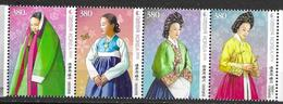 SOUTH KOREA, 2019, MNH, COSTUMES, TRADITIONAL KOREAN COSTUMES, 4v - Costumes