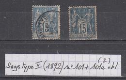France Sage Type II (1892) Y/T N° 101 + 101a Oblitérés à 15% De La Cote (lot 2) - 1876-1898 Sage (Type II)
