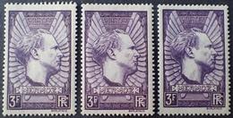 R1692/458 - 1937 - MERMOZ - N°338 (x3) NEUFS* - DIFFERENTES NUANCES - France